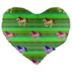 Rainbow Ponies Large 19  Premium Flano Heart Shape Cushions