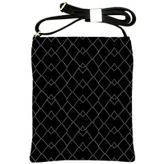 Black And White Grid Pattern Shoulder Sling Bags by dflcprints