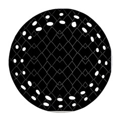 Black And White Grid Pattern Ornament (round Filigree) by dflcprints