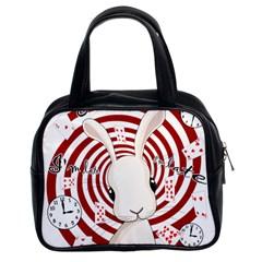 White Rabbit In Wonderland Classic Handbags (2 Sides) by Valentinaart