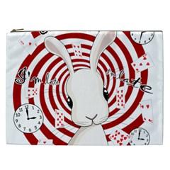 White Rabbit In Wonderland Cosmetic Bag (xxl)  by Valentinaart