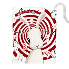 White Rabbit In Wonderland Drawstring Pouches (xxl) by Valentinaart