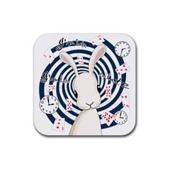 White Rabbit In Wonderland Rubber Coaster (square)  by Valentinaart