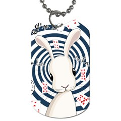 White Rabbit In Wonderland Dog Tag (two Sides) by Valentinaart