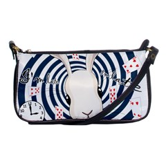 White Rabbit In Wonderland Shoulder Clutch Bags by Valentinaart