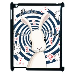 White Rabbit In Wonderland Apple Ipad 2 Case (black) by Valentinaart