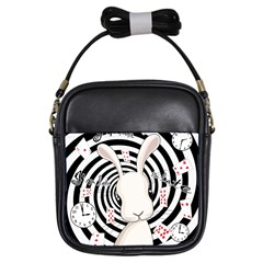 White Rabbit In Wonderland Girls Sling Bags by Valentinaart