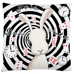 White Rabbit In Wonderland Large Cushion Case (one Side) by Valentinaart