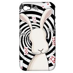 White Rabbit In Wonderland Apple Iphone 4/4s Hardshell Case (pc+silicone) by Valentinaart