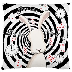 White Rabbit In Wonderland Large Flano Cushion Case (two Sides) by Valentinaart