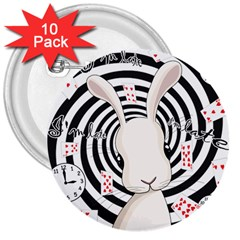 White Rabbit In Wonderland 3  Buttons (10 Pack)  by Valentinaart