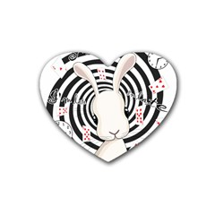 White Rabbit In Wonderland Rubber Coaster (heart)  by Valentinaart