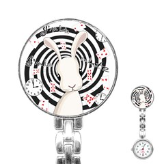 White Rabbit In Wonderland Stainless Steel Nurses Watch by Valentinaart