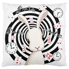 White Rabbit In Wonderland Large Flano Cushion Case (one Side) by Valentinaart