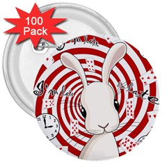 White Rabbit In Wonderland 3  Buttons (100 Pack)  by Valentinaart