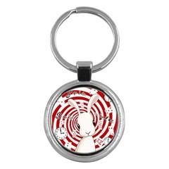 White Rabbit In Wonderland Key Chains (round)  by Valentinaart