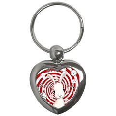 White Rabbit In Wonderland Key Chains (heart)  by Valentinaart