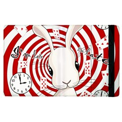 White Rabbit In Wonderland Apple Ipad 3/4 Flip Case by Valentinaart