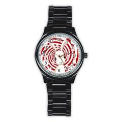 White Rabbit In Wonderland Stainless Steel Round Watch by Valentinaart