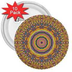 Wood Festive Rainbow Mandala 3  Buttons (10 Pack)  by pepitasart