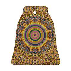 Wood Festive Rainbow Mandala Ornament (bell) by pepitasart