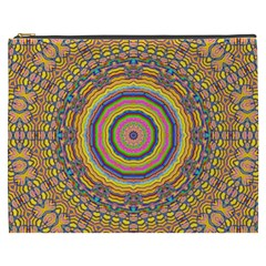 Wood Festive Rainbow Mandala Cosmetic Bag (xxxl)  by pepitasart