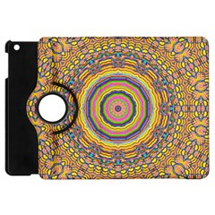 Wood Festive Rainbow Mandala Apple Ipad Mini Flip 360 Case by pepitasart