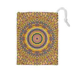 Wood Festive Rainbow Mandala Drawstring Pouches (large)  by pepitasart