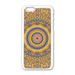 Wood Festive Rainbow Mandala Apple Iphone 6/6s White Enamel Case by pepitasart
