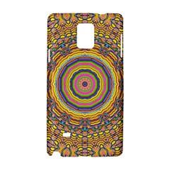 Wood Festive Rainbow Mandala Samsung Galaxy Note 4 Hardshell Case by pepitasart