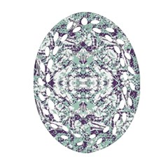 Modern Collage Pattern Mosaic Oval Filigree Ornament (two Sides) by dflcprints
