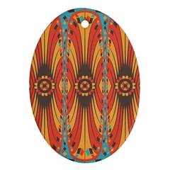 Geometric Extravaganza Pattern Oval Ornament (two Sides) by linceazul
