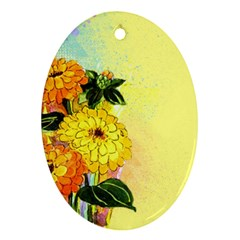 Background Flowers Yellow Bright Ornament (oval)