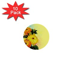 Background Flowers Yellow Bright 1  Mini Buttons (10 Pack)