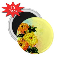 Background Flowers Yellow Bright 2 25  Magnets (10 Pack)