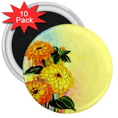 Background Flowers Yellow Bright 3  Magnets (10 Pack)