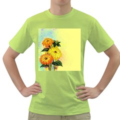 Background Flowers Yellow Bright Green T Shirt
