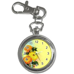 Background Flowers Yellow Bright Key Chain Watches