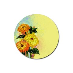 Background Flowers Yellow Bright Rubber Round Coaster (4 Pack)