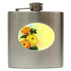 Background Flowers Yellow Bright Hip Flask (6 Oz)