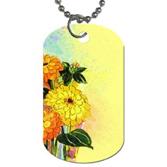 Background Flowers Yellow Bright Dog Tag (two Sides)