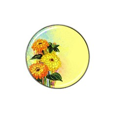 Background Flowers Yellow Bright Hat Clip Ball Marker (4 Pack)