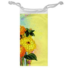 Background Flowers Yellow Bright Jewelry Bag