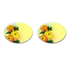 Background Flowers Yellow Bright Cufflinks (oval)
