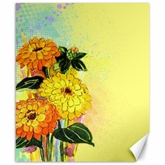 Background Flowers Yellow Bright Canvas 8  X 10