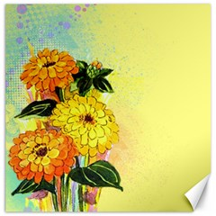 Background Flowers Yellow Bright Canvas 16  X 16