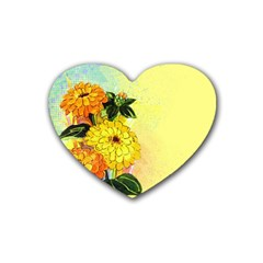 Background Flowers Yellow Bright Rubber Coaster (heart)