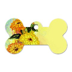 Background Flowers Yellow Bright Dog Tag Bone (one Side)