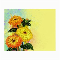 Background Flowers Yellow Bright Small Glasses Cloth (2 Side)