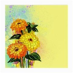 Background Flowers Yellow Bright Medium Glasses Cloth